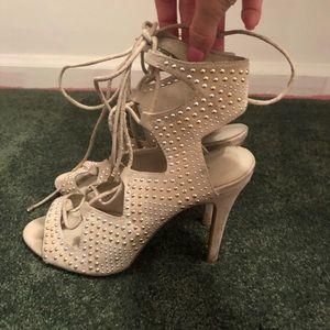Aldo lace up studded heels